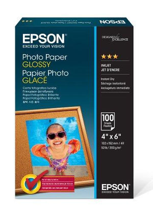 "Epson Photo Paper Glossy - Borderless - S042038, 4"" X 6"" (100 Sheets)"