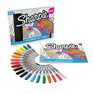 Sharpie 1989554 Permanent Markers 10 Fine 10 Ultrafine Tip Assorted Colors With Aquatic Themed Adult Coloring Book
