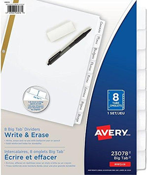 Avery Big Tab Write & Erase Dividers, 8 White Tabs, 1 Set (23078)