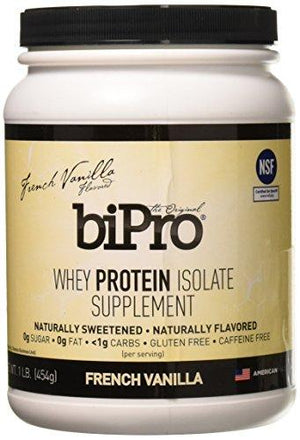 Bipro 100% Whey Protein Isolate 1Lb French Vanilla All Natural Sugar-Free 90 Calories