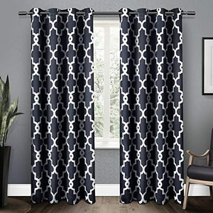 Exclusive Home Curtains Ironwork Sateen Woven Blackout Grommet Top Curtain Panel Pair, 52x84, Peacoat Blue, 2 Piece