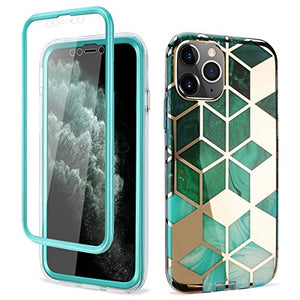 Case for iPhone 11 Pro Full-Body Shockproof Protective Cover with Built-in Screen Protector, Flexible Durable Soft TPU Bumper Slim Stylish Marble Design for Apple iPhone 11 5.8'' (2019) - Green