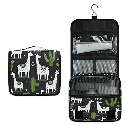 AUUXVA Travel Hanging Toiletry Bag Cute Cactus Llama Portable Cosmetic Makeup Bag Case Organizer Wash Gargle Bag Waterproof with Hook for Women Men for Cosmetics and Toilet Accessories