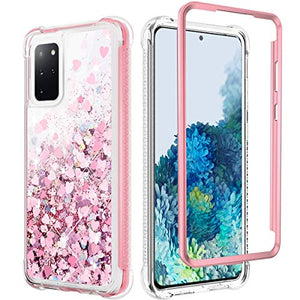 Caka Case for Galaxy S20 Plus 5G Glitter Case Heavy Duty Bling Sparkle Quicksand Liquid Grily Girls Women Full Body Fashion Flowing Glitter for Galaxy S20 Plus 5G 6.7 inches 2020 (Rose Gold)