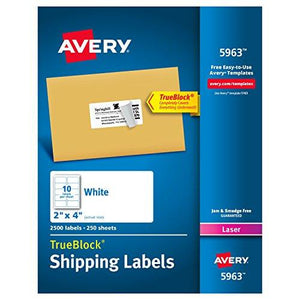 Avery Shipping Address Labels, Laser Printers, 2,500 Labels, 2x4 Labels, Permanent Adhesive, TrueBlock (5963) White