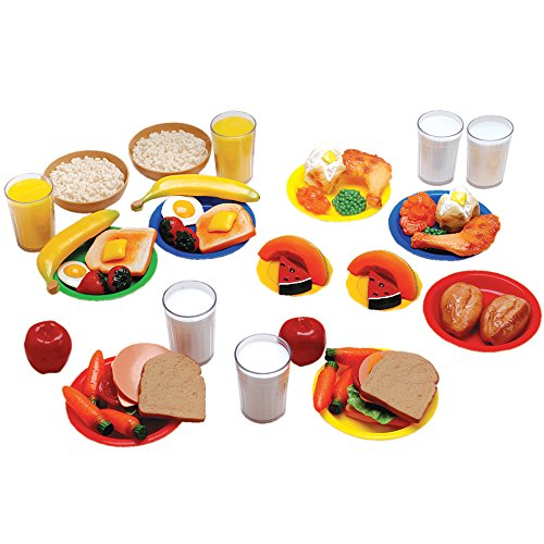 Constructive Playthings Healthy Foods Play Food for Kids, 52 Piece Complete Set
