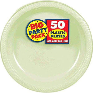 Amscan Big Party Pack 50 Count Plastic Lunch Plates, 10.5-Inch, Leaf Green