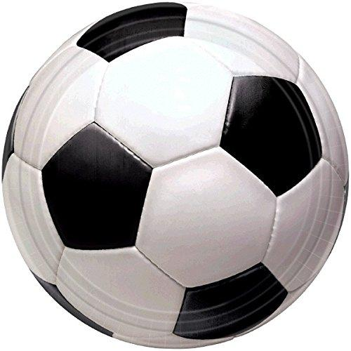 "Amscan 599709 Soccer Goal Birthday Party Round Dinner Plates, 10"", Black And White"