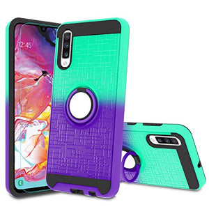 Atump Galaxy A70 Case, Samsung Galaxy A70 Cases with HD Screen Protector, 360 Degree Rotating Ring Holder Kickstand Bracket Cover Phone Case for Samsung Galaxy A70 Mint/Purple