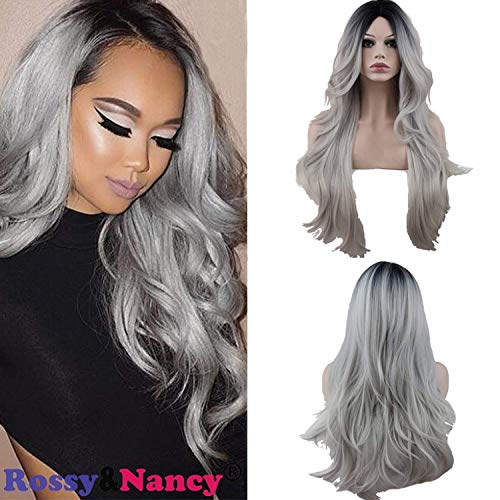Rossy&Nancy Halloween Two Tones Cheap Synthetic Long Nature Wave Heat Resistant None Lace Wig Middle Part Ombre Black Rooted Silver Gray 130% High Density for Women
