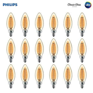 Philips Led Classic Amber Glass Ba11 Dimmable Filament Light Bulb: 2700-Kelvin 4-Watt 18-Pack