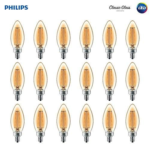 Philips Led Classic Amber Glass Ba11 Dimmable Filament Light Bulb: 2700-Kelvin 4-Watt (40-Watt Equivalent) E12 Base Amber 18-Pack