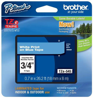 "Brother P-Touch Genuine Tze-545 ~3/4"" (0.7"") White On Blue Standard Laminated Tape 26.2 Ft (Tze545)"
