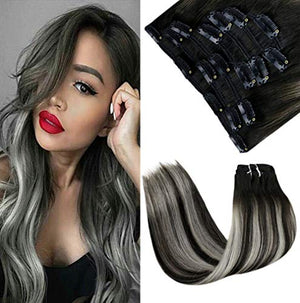 LaaVoo 18 Inch Balayage Clip in Hair Extensions Human Hair Off Black Ombre to Silver Highlighted with Black Double Weft Clip in Hair Extensions 7pcs/100g Clip in Hair