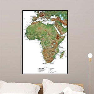 Wallmonkeys Africa Terrain Educational Map Wall Mural Peel and Stick Graphic (36 in H x 26 in W) WM207519