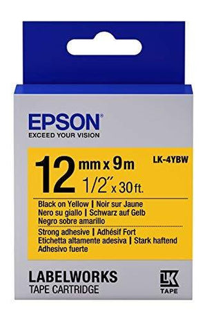 "Epson Labelworks Strong Adhesive Lk (Replaces Lc) Tape Cartridge ~1/2"" Black On Yellow (Lk-4Ybw)"