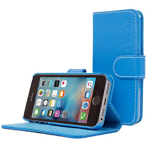 Snugg PU Leather Wallet Case for Apple iPhone 5 / 5S - Electric Blue