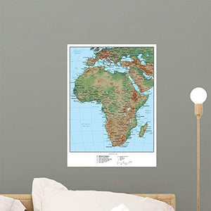 Wallmonkeys Africa Terrain Educational Map Wall Mural Peel and Stick Graphic (18 in H x 13 in W) WM262030