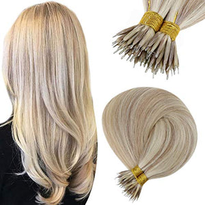 Hetto Nano Ring Extensions 100% Brazilian Per Bonded Remy Hair Extensions #18 Ash Blonde Highlight with #613 Micro Nano Tip Human Hair Extension for Woman 1G/Strand 50Gram