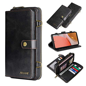 Wallet Case for Galaxy A52 5G, XRPow [2 in 1] Magnetic Detachable Wallet Purse [Crossbody Chain] Durable [PU Leather] Zipper Handbag Folio Flip Card Solt Protection Back Cover for Samsung Galaxy A52