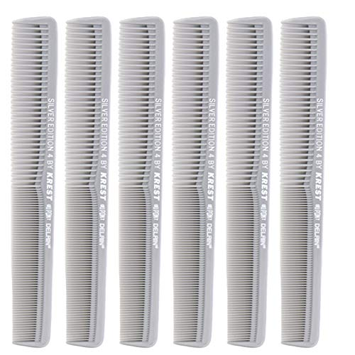7 In. Silver Edition Heat Resistant All Purpose Hair Comb Model #4 Krest Comb,