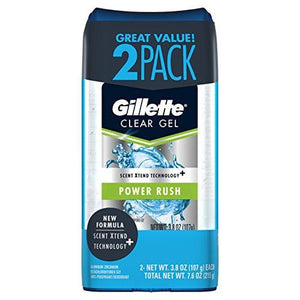 Gillette Antiperspirant Deodorant For Men, Power Rush Scent, Clear Gel, 3.8 Oz 2 Count