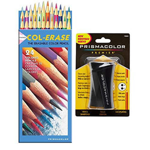 Prismacolor Col-Erase Erasable Colored Pencils, Set Of 24 Assorted Colors With Pencil Sharpener