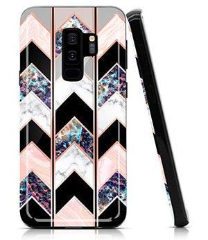 BAISRKE Marble Case for Galaxy S9 Plus, Shiny Rose Gold Lines Wave Geometric Design Case Slim Soft TPU Rubber Bumper Silicone Protective Phone Case Cover for Samsung Galaxy S9+ Plus [Black]