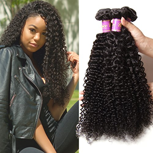 UNice Hair Curly Human Hair Bundles 12 14 16inch 100% Unprocessed Human Remy Hair Weaves Hair Extensions Natural Color