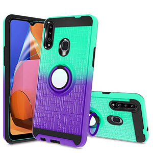 Atump Galaxy A20S Case,A20S Phone Case with HD Screen Protector, 360 Degree Rotating Ring Holder Kickstand Bracket Cover Phone Case for Samsung Galaxy A20S Mint/Purple