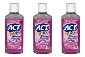 Act Kids Anti-Cavity Fluoride Rinse, Bubblegum Blowout Travel Size 1 Oz (Pack Of 3)