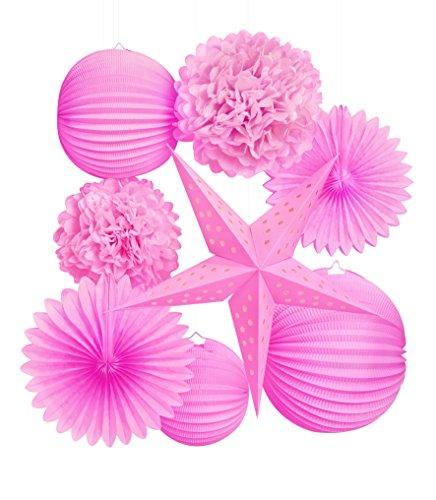 Darice 8 Piece Pink Themed, Lanterns, Stars And Fans Party Decor Kit