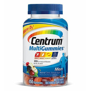 Centrum Men Multivitamin/Multimineral Supplement Gummies (Natural Cherry Berry And Apple 150 Count)