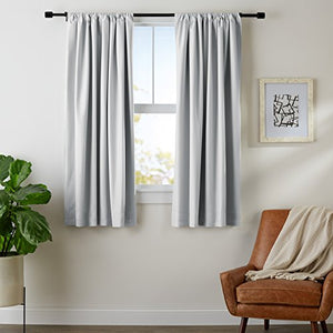 "AmazonBasics Room Darkening Blackout Window Curtains with Tie Backs Set, 52"" x 63"", Light Grey"