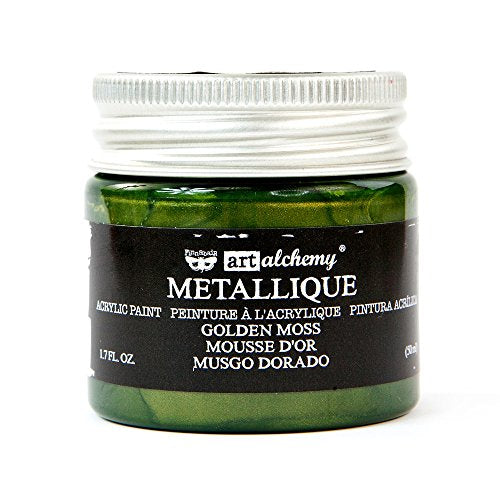 Prima Marketing Metallique Golden Moss Finnabair Art Alchemy Acrylic Paint 1.7 Fl. Oz