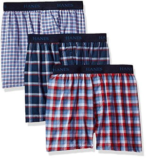 Hanes Big Boys' Ultimate Comfortsoft Plaid Boxers (3 Pack), Assorted, S