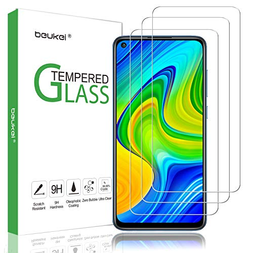 (3 Pack) Beukei Compatible for Xiaomi Redmi Note 9 Screen Protector Tempered Glass, Anti Scratch, Bubble Free (Not Fit for Redmi Note 9S and Redmi Note 9 Pro)