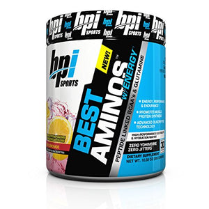 BPI Sports Best Aminos with Energy Peptide Linked BCAAs and Glutamine, Red Lemonade, 10.58 Ounce
