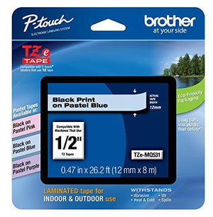 "Brother P-Touch Standard Laminated Tape, 1/2"", Black On Pastel Blue (Tzemq531)"