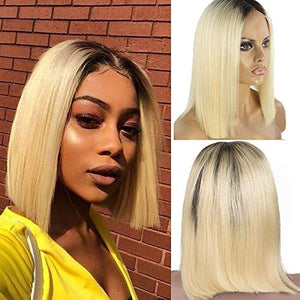 1B/613 Blonde bob wig PrePlucked Hairline Ombre 613 Blonde Brazilian Human Hair Lace Front Wig for Black Women Glueless Middle Part Short Cut Style Bob Straight 13x4 Frontal Bleached Knots Wig 8""