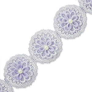 Expo International 14 Yard Of Owen Crochet 3 D Flower Trim, Lavender