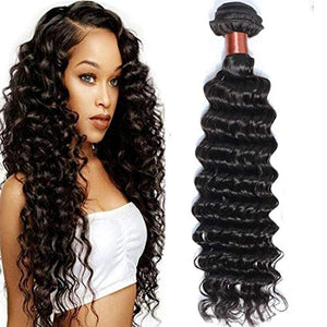 BLACKMOON HAIR Peruvian Virgin Hair Deep Wave Bundles Remy Human Hair One Bundle Weave 100% Unprocessed Hair Extensions Natural Black Color 26Inch (100+/-5g)/bundle Can be Dyed and Bleached