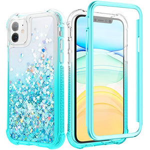Caka Case for iPhone 11 Glitter Case Bling Liquid Protective with Built in Screen Protector Heavy Duty Full Body Luxury Quicksand Gradient Glitter Girly Girls Women Case for iPhone 11 (Gradient Teal)