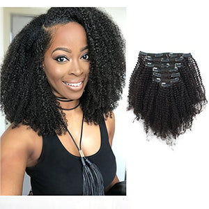 Sassina 9A Grade Unprocessed Real Remy Afro Coily Clip In Human Hair Extensions 4B 4C Afro Kinky Curly Clip ins For African Americans Black Women 120 Grams 7 Pieces With 17 Clips 4AC 16 Inch