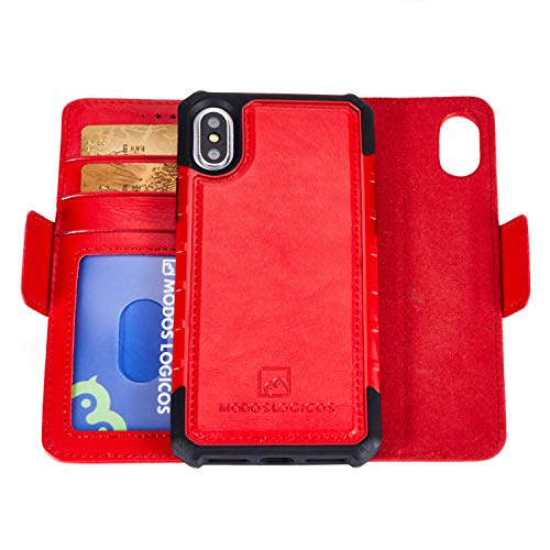 MODOS LOGICOS Apple iPhone X/Xs Case, Magnetic Detachable 2 in 1 Wallet Case, PU Leather Wallet Folio & Removable Air Cushion Case with PU Leather Cover Back - Red/Red