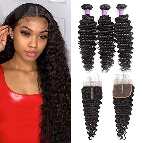 10A Brazilian Deep Wave Bundles with Closure (16 18 20+14) 100% Human Hair 3 Bundles with Closure Wet and Wavy Curly Bundles with Lace Closure Middle Part