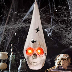 Fun Little Toys Halloween Realistic Skeleton Skull With Glowing Eyes Super Stretch Spider Web