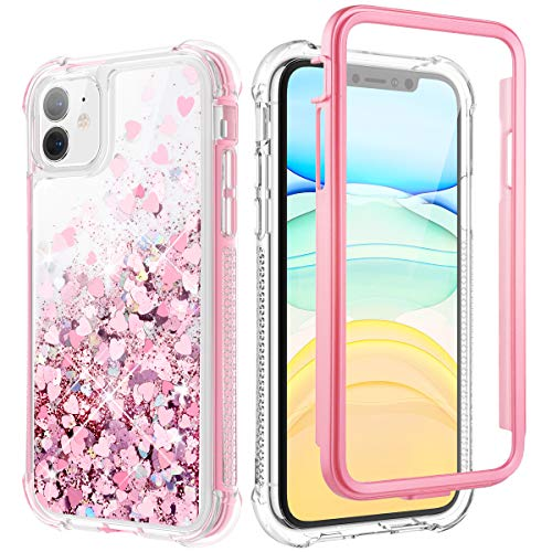 Caka Glitter Case for iPhone 11 Case Glitter Bling Shiny Full Body with Built in Screen Protector Heavy Duty Liquid Flowing Love Shockproof Clear Women Girl Case for iPhone 11(6.1 inch)(Rose Gold)