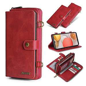Compatible with Samsung Galaxy A52 5G Wallet Case,PU Leather Folding Flip Magnetic with Money Pocket & 13 Card Slots, Full Protective Zipper Purse Case Cover for Galaxy A52 5G(Red)