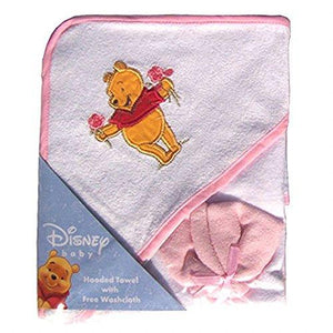Disney Winnie The Pooh Hooded Towel & Washcloth Set - Pink